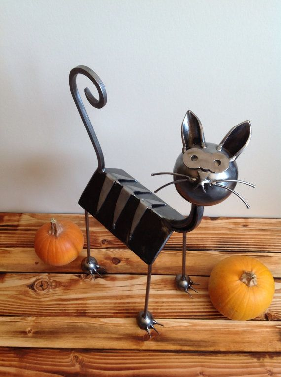 steel abstract cat sculpture heavy metal iron yard art