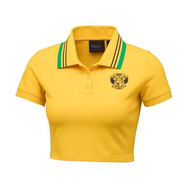 FENTY Women's Cropped Polo - US ($80) ❤ liked on Polyvore featuring tops, shirts, yellow top, cut-out crop tops, polo crop top, crop top and puma top