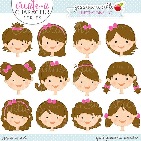 Brunette Girl Faces - Create A Character Series - Cute Digital Clipart - Commercial Use OK - Mix & Match Sets to Create Your Own Character