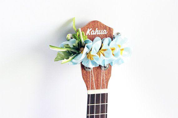 ribbon lei for ukulele / blue plumeria / ukulele accessories /ukulele decor / mandolin / banjo / hawaiian lei / satin ribbon / flower ribbon