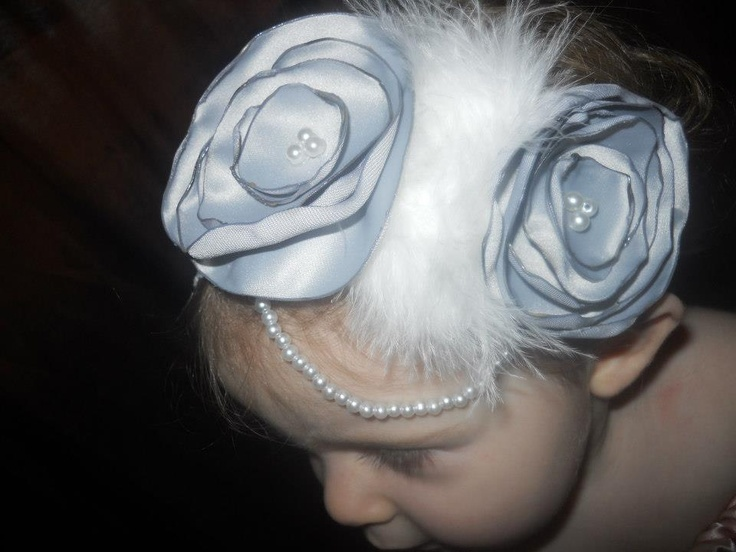 Gray satin lollipop style vintage flowers (hand rolled and burned) with pearls and a white feather boa strip on a white lace band. - $15  Handmade by Candy's Creations. Shipping: Send Message.  http://www.facebook.com/CandysCoutureCanada