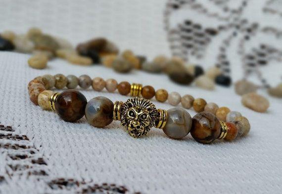 Lion Bracelet Brown Bead Bracelet Gold Lion Bracelet Lion
