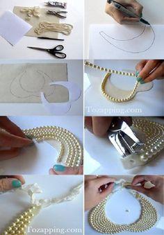 Cómo Hacer un Collar Babero con Perlas. Hoy un collar babero con perlas que podemos hacernos muy fácil.¡Están de moda los collares babero vintage.Cómo Hacer