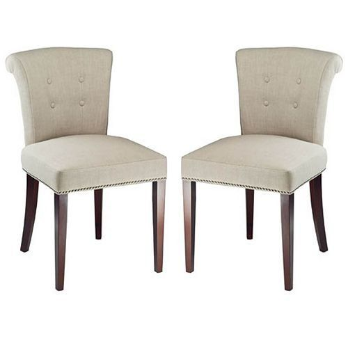 Arion Side Chair (Set of 2) Upholstery: Linen - Sand by Safavieh. $459.00. Button tufting all outlined in nickel nails. Elegantly designed for big impact. Rollover back. No assembly required. Set of 2. MCR4507A-SET2 Upholstery: Linen - Sand Features: -Set of two side chairs.-Rollover back.-Button tufted.-Jewelry-quality handle on the back. Options: -Upholstered in Cream leather.