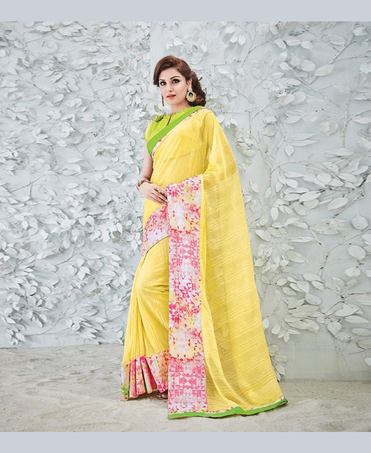 Yellow Georgette Printed Saree With Blouse 78908