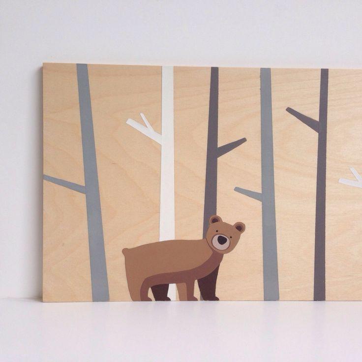 Bear Nursery Art - Woodland Nursery Decor - Wood Wall Art - Woodland Nursery Art - Forest Nursery Decor - Bear Art - Bear Painting by SweetBananasArt on Etsy https://www.etsy.com/listing/163998990/bear-nursery-art-woodland-nursery-decor