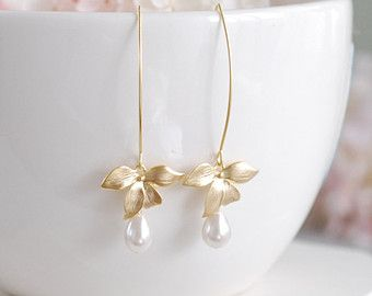 Cream Pearls Dangle Earrings Gold Orchid Flower Cream by LeChaim