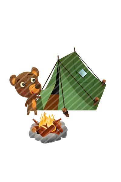 Bear Camping Vector #bear #handdrawn #vector #graphics #pack #vectorpack #animal #camping #fire #tent http://www.vectorvice.com/bear-vector