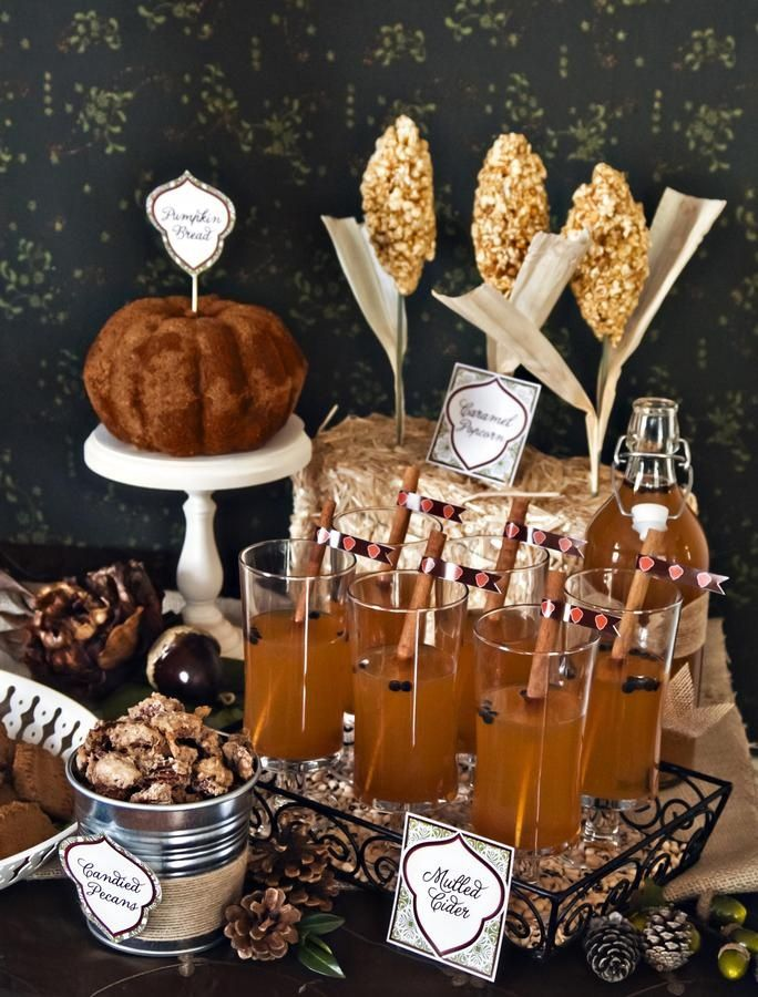 Snack bar with mulled cider, pumpkin bundt, and candied pecans - yum!