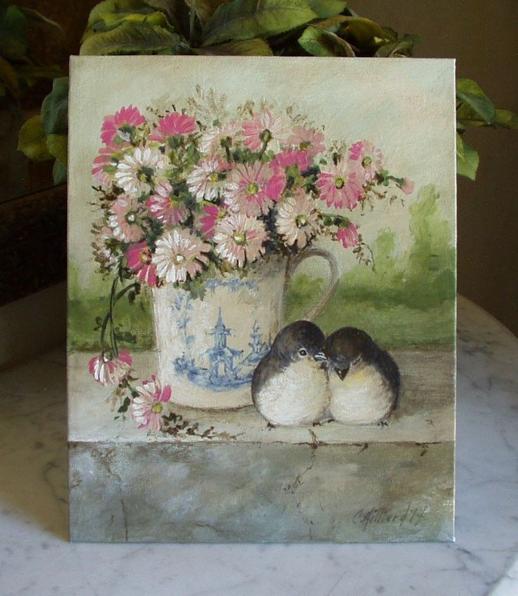 Painting Nature Animals Blue Transferware Cup Pink Daisies Pair of Birds by Cindy Hilliard
