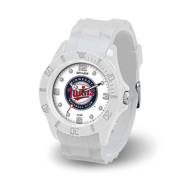 """Football Fan Shop MLB Team Logo """"Cloud Series"""" Crystal-Accented White Silicone Strap Watch - Minnesota Twins"""