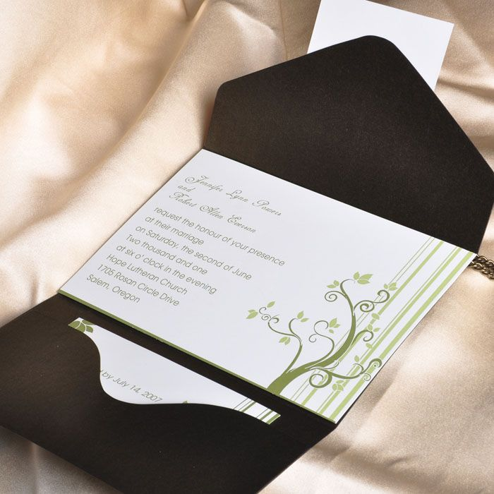 pocket wedding invites australia%0A Green Pocket Fold Wedding InvitationsPlants Themed