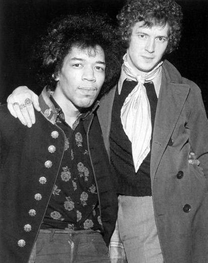 Two of the greatest guitarists of all time.  Jimi Hendrix and Eric Clapton. no big deal.  SUCH AN AWESOME PICTURE. THIS WOULD BE THE COOLEST POSTER