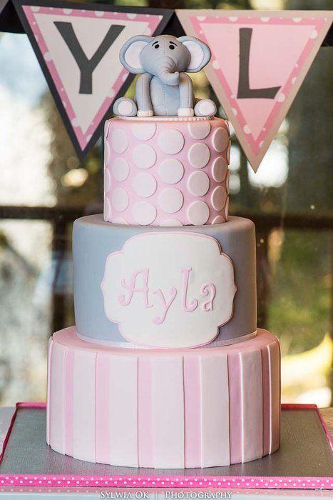 Elephant first birthday cak