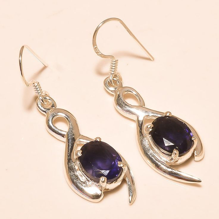 92.5% SOLID STERLING SILVER NATURAL IOLITE AWESOME FREE SHIPPING EARRING 4 CM #Handmade
