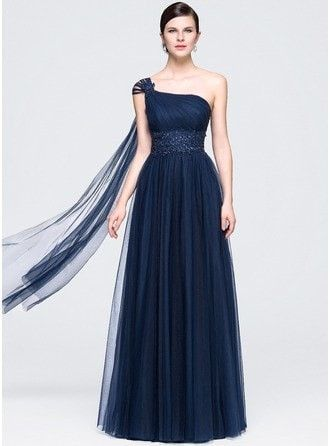A-Line Princess One Shoulder Floor Length Tulle Prom Dress With Ruffle Beading Appliques Lace Sequins