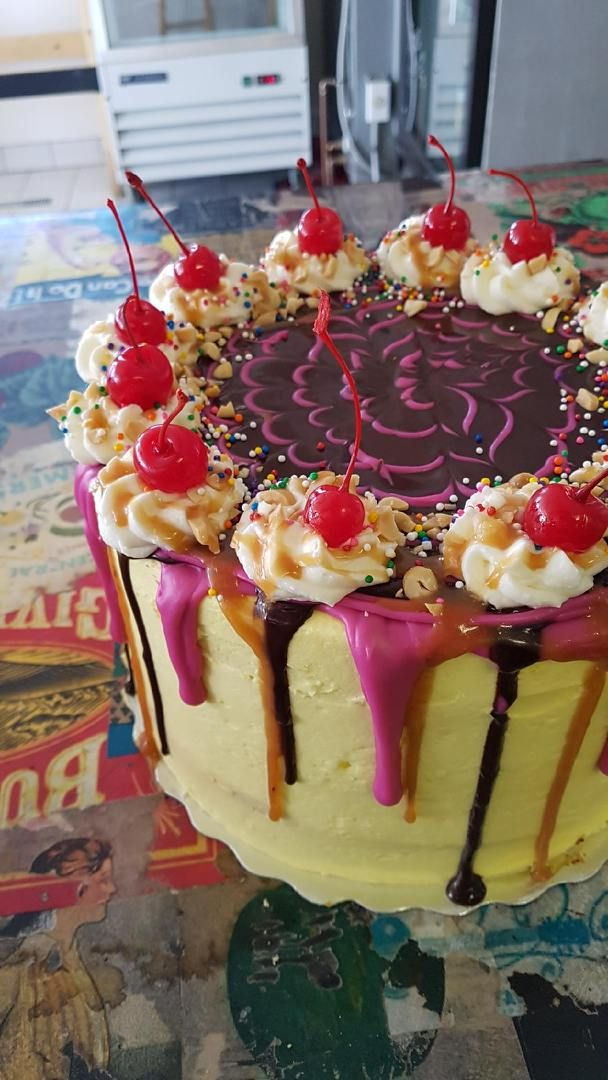 Our cakes are one of a kind delicious creations! #cake #specialorder #bananasplitcake #timmins #radicalgardens #northernontario