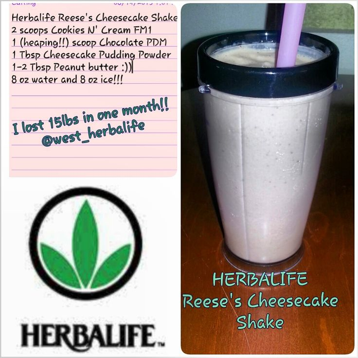Herbalife Reese's Cheesecake Shake: Add 8 oz of cold water to your blender cup, add 2 scoops Cookies N' Cream Formula 1 Healthy Meal, 1 heaping scoop of Chocolate Protein Drink Mix, 1 teaspoon of  Sugar & Fat Free Cheesecake Pudding Mix, and a dollop of Peanut Butter. Top it off with 8 oz of ice, BLEND, and ENJOY!! :)