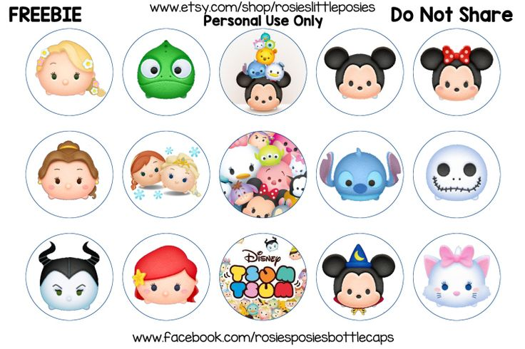 Click to save full size image.  Free Tsum Tsum Bottle Cap Images. Freebie Printable. Birthday, hair bow, diy.