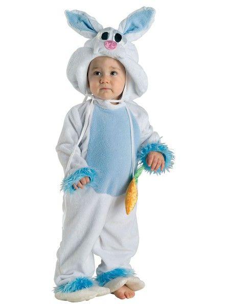 Baby Kostüm Hase, Häschen Kostüm Kleinkind blau-weiß