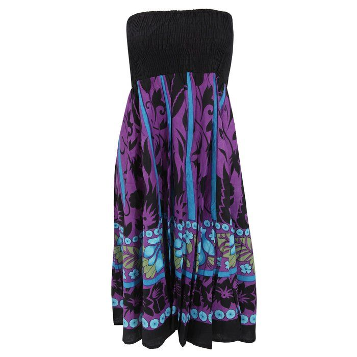 Womens/Ladies Flower And Leaf Print 2 In 1 Dress (Medium - UK 12-14) (Purple)