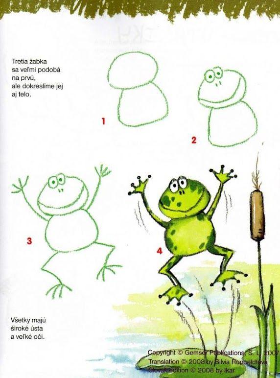 kikker tekenen met kleuters EN ANDERE TEKENSCHEMA'S OP  http://www.pinterest.com/clickertje/tekenen