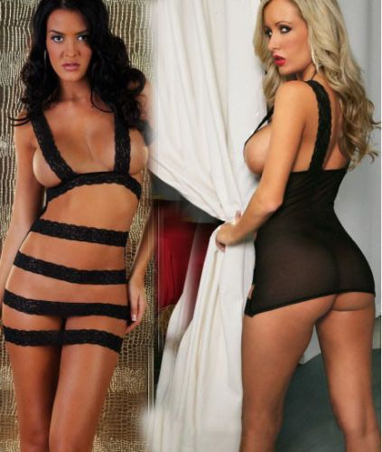 7.69$  Watch now - http://viwgc.justgood.pw/vig/item.php?t=i27hd0s30449 - WOMEN'S SEXY BLACK INTIMATE TEMPTING LINGERIE & G-STRING BABYDOLL NIGHTWEAR SET