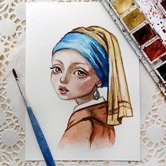 """Meine Interpretation des Gemäldes """"Mädchen mit einem Perlenohrring"""" von Johannes Vermeer. Verfügbar in meinem Etsy. Link im Profil? Ausverkauft. Vielen Dank."""