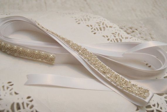Bridal Belt White Satin Wedding Sash by BridalBlushChampagne