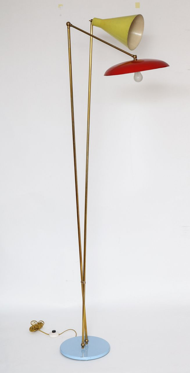 Mid Century Modern Lamp Shades | Stilnovo, Italian Mid Century Modern Floor Lamp, 1955