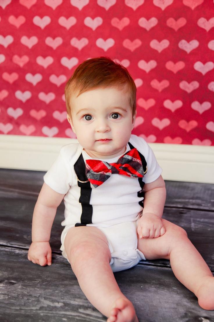 Baby Boy Bow Tie Bodysuit With Suspenders Knee Heart