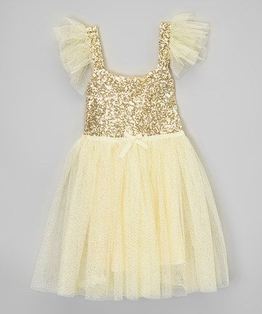 Another great find on #zulily! Gold & Cream Sequin Dress - Infant by Little Miss Fairytale #zulilyfinds