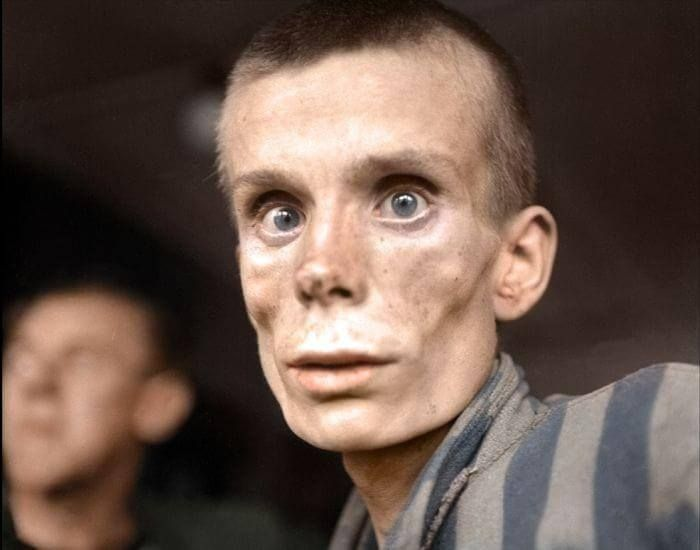 A Jewish Man In A Nazi Concentration Camp  30 Iconic Black & White Old Pictures That Look Amazing In Colour • Page 5 of 6 • BoredBug