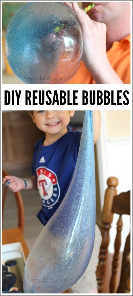 Bored? You can make giant, stretchy, REUSABLE bubbles that had our entire family giggling for hours! #diykids