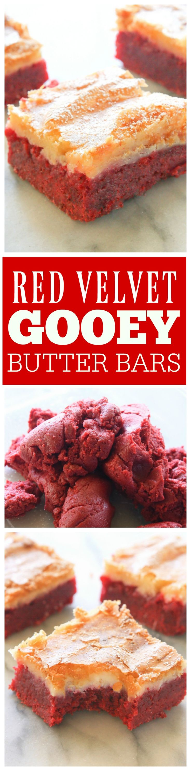 Red Velvet Gooey Butter Bars - The Girl Who Ate Everything