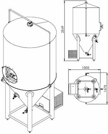 Fermentador 1200 Litros Desenho Tecnico
