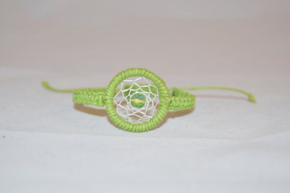 Dream Catcher Bracelet Adjustable Green by KnotTreasures on Etsy