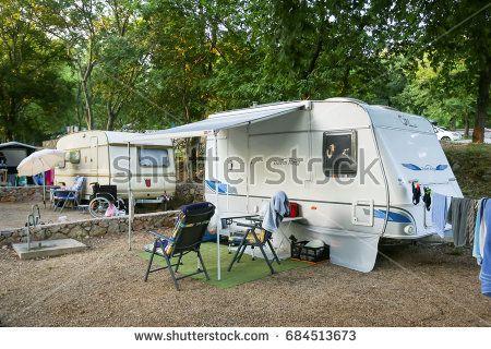 NJIVICE, CROATIA - JUNE 24, 2017 : The camping trailers in a camp on island Krk in Njivice, Croatia.