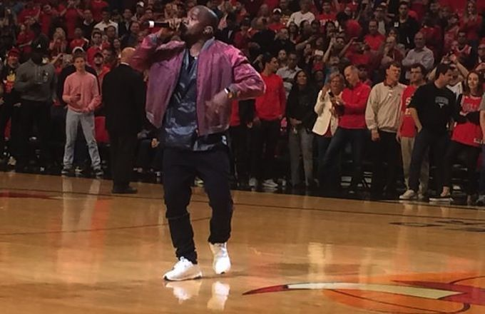 Kanye West has done everything from the pregame introductions to entertain during a timeout of today's Game 4 contest between the Bulls and Cavs.