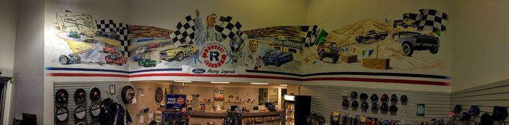 While we wait for racing season to come back around we like to stroll into our Parts Department here at Raceway Ford and gaze at the amazing mural that dominates the view, it celebrates the history of the legendary Riverside International Raceway which was located about a mile from our dealership. And yes, that is where we got our name! Stop by some time and check it out ;)
