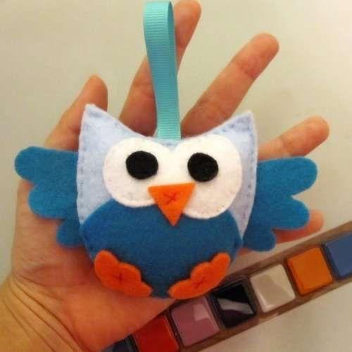 Aborable Blue Mini Felt Owl - Cute Party Favors - Felt Toys - Photo