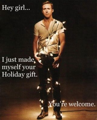 Ryan Gosling wrapped in Christmas lights. Merry Christmas indeed.
