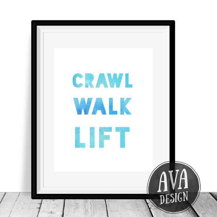 A nursery print for you or your fit friend who is having a baby! Crawl Walk Lift is in a blue watercolor style that will look great in a home gym or a childs room.  This listing is for an instant download — You will receive an 8x10 inch JPEG that you can print at home or at your local print shop.  A link to your download will be emailed to you as soon as payment is processed.  Please contact me if you have any questions or would like to request a custom listing :)  PLEASE NOTE: ★ This is an…