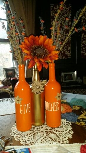"""Painted Wine Bottles """" give thanks"""""""