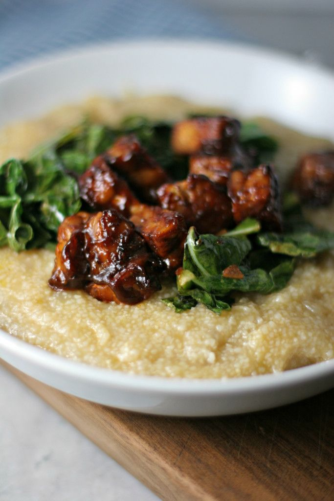 Savory Grits with BBQ Tempeh and Collard Greens (vegan, gluten free)