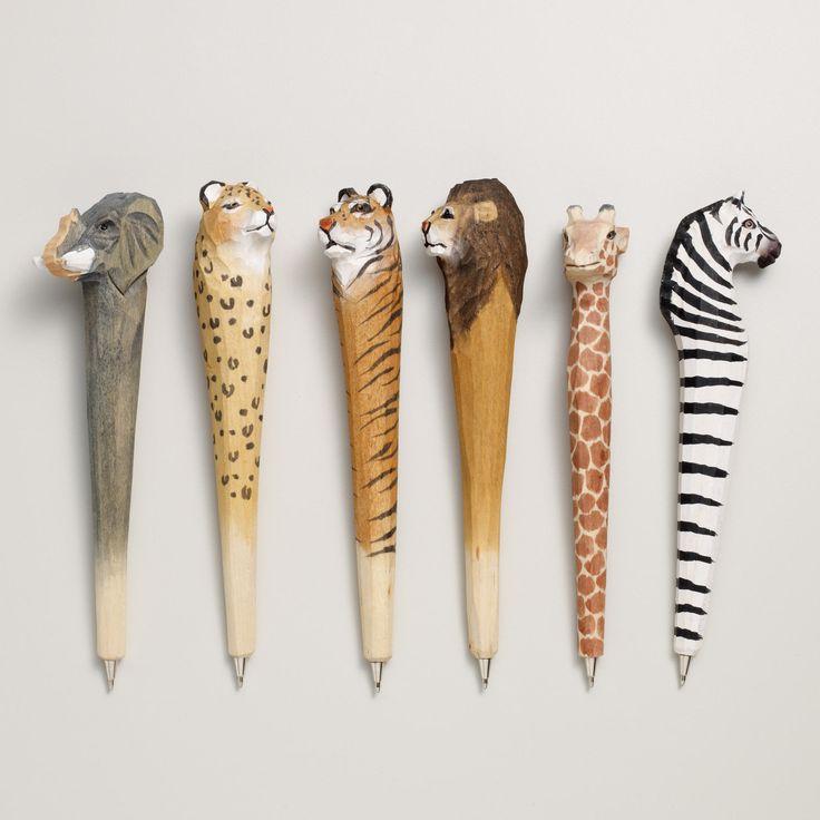 Wood Carved Animal Pens, Assorted 6-pk | World Market