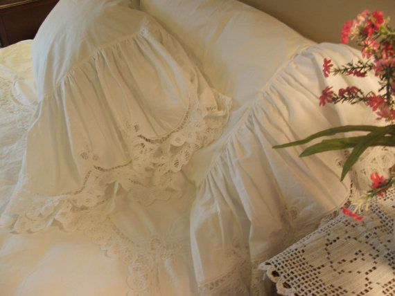 White Shabby Chic Pillow Cases : shabby chic battenberg pillow cases w/ top by MyThymeCreations, $200.00 For the Home ...