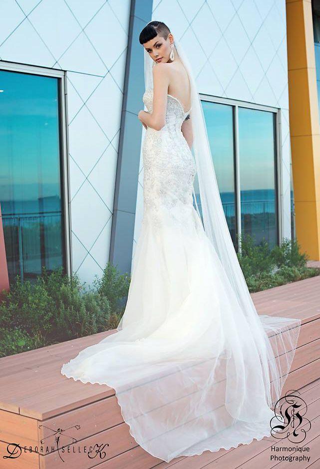    Original Dress Design by Deborah Selleck    Mermaid   Lace   Bride   White   Jewels   Beading   Wedding   Vintage   Ivory   Wedding Dress   Bridal Gown   Blogger   Fashion   Photoshoot   Model   Sweetheart   Designer   Tattoos   Veil