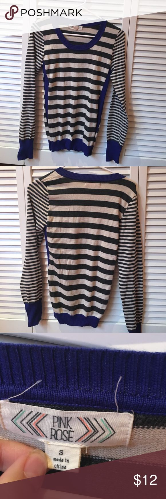 pink rose juniors sweater Blue, black, and white striped sweater. In good condition and is stretchy. This light sweater is perfect for a chilly summer night or even a fall day! Pink Rose Tops Blouses