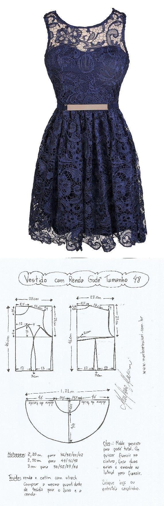 Vestido com Renda Godê. Um vestidinho jovial que pode ser feito com vários tipos de renda ou mesmo com chiffon ou musseline forrado com cetim ou tricoline. Segue esquema de modelagem do 36 ao 56.